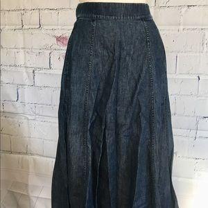 Blue Jean Denim 100% Cotton Flared W/Pockets Skirt